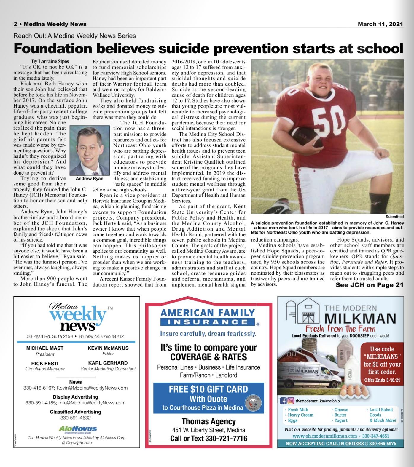 Medina Weekly News JCH Foundation Hertvik